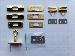Bagclasp (Hermes) gold turn lock (incl. 2 hooks) total 6 parts (ea)