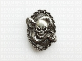 Concho: Biker conchos screw back skull with snake oval