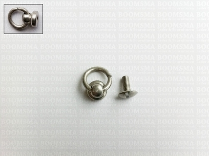 Button stud with ring antique/mat silver  mat zilver Ø 10 mm (binnenkant ring), totale hoogte met ring 15 mm (per 10 st.) - pict. 1