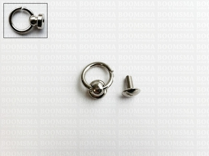 Button stud with ring silver Ø 8 mm (inside ring), total height ring included 16 mm (per 10 pcs.) - pict. 1