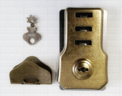 Briefcase key lock antique brass plated (per pair) - pict. 1