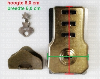 Briefcase key lock antique brass plated (per pair) - pict. 2
