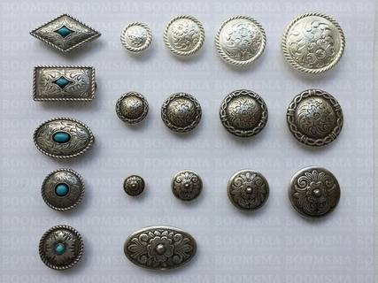 Concho: Conchos with turguoise 'stone'  Ø 25 mm mesa - pict. 2
