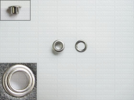 Eyelets: Eyelet 1054R + washer silver 7,5 × 4 × 4 mm (width × hole × height), art. 1054R + washer (per 1000 (M/pk)) - pict. 1