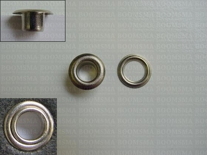 Eyelets: Eyelet 1450R + washer silver 11,8 × 6 × 6 mm (widht × hole × hight), 1450R + washer (per 1000 (M/pk)) - pict. 1