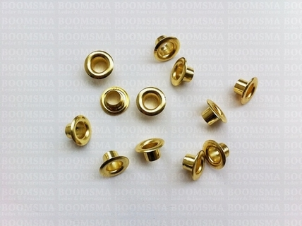"Eyelets: Eyelet or grommet (fit eyeletsetter) gold Eyelet 1/4"" medium, 12 × 6 × 6 mm (width × hole × tube) (per 100) - pict. 1"