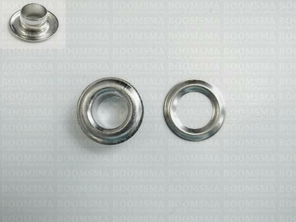 Eyelets: Eyelet or grommet large silver coloured 18,5 × 9,5 × 7 mm (width × hole × height), art. VL40 + washer (per 100) - pict. 1