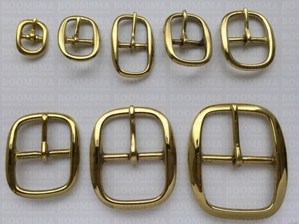 Oval centre bar buckle solid brass  - pict. 3