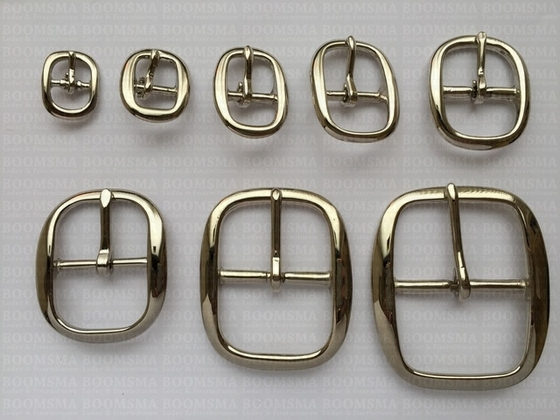 Oval centre bar buckle solid brass nickel plated - pict. 3