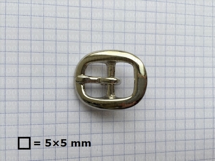 Oval centre bar buckle solid brass nickel plated 43 mm (ea) - pict. 2