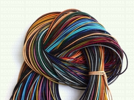 Round leather laces Ø 2 mm assorti various colours Ø 2 mm, length 100 cm (per 10) - pict. 1