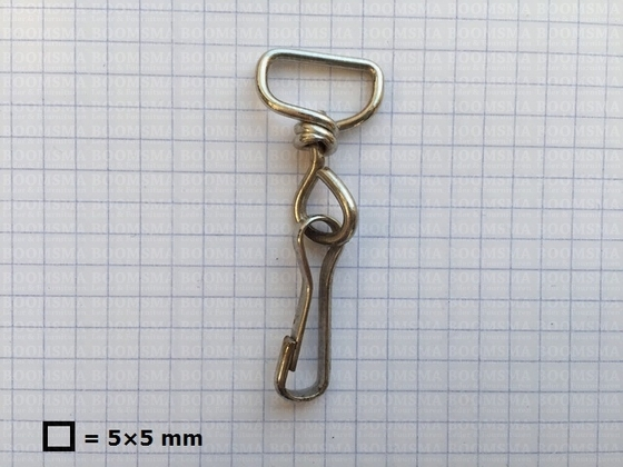 Swivel lanyard hooks silver eye 1,5 cm, hook 3,0 cm, total length 5,7 cm  - pict. 1